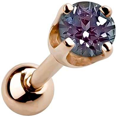 be2e56c06 Amazon.com: FreshTrends 2mm Alexandrite June Birthstone 14K Rose Gold  Cartilage Tragus Stud Earring: Jewelry
