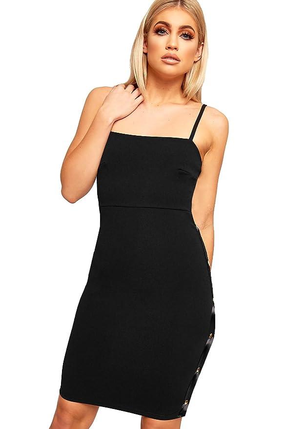 fe7d44be0f7c WearAll Women's Strappy Sleeveless Striped Popper Panel New Ladies Bodycon Mini  Dress 6-12: Amazon.co.uk: Clothing
