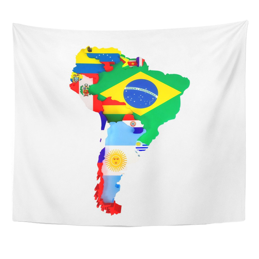 Emvency Tapestry Colorful Latin South America Map Countries and Capital Cities Home Decor Wall Hanging for Living Room Bedroom Dorm 50x60 Inches