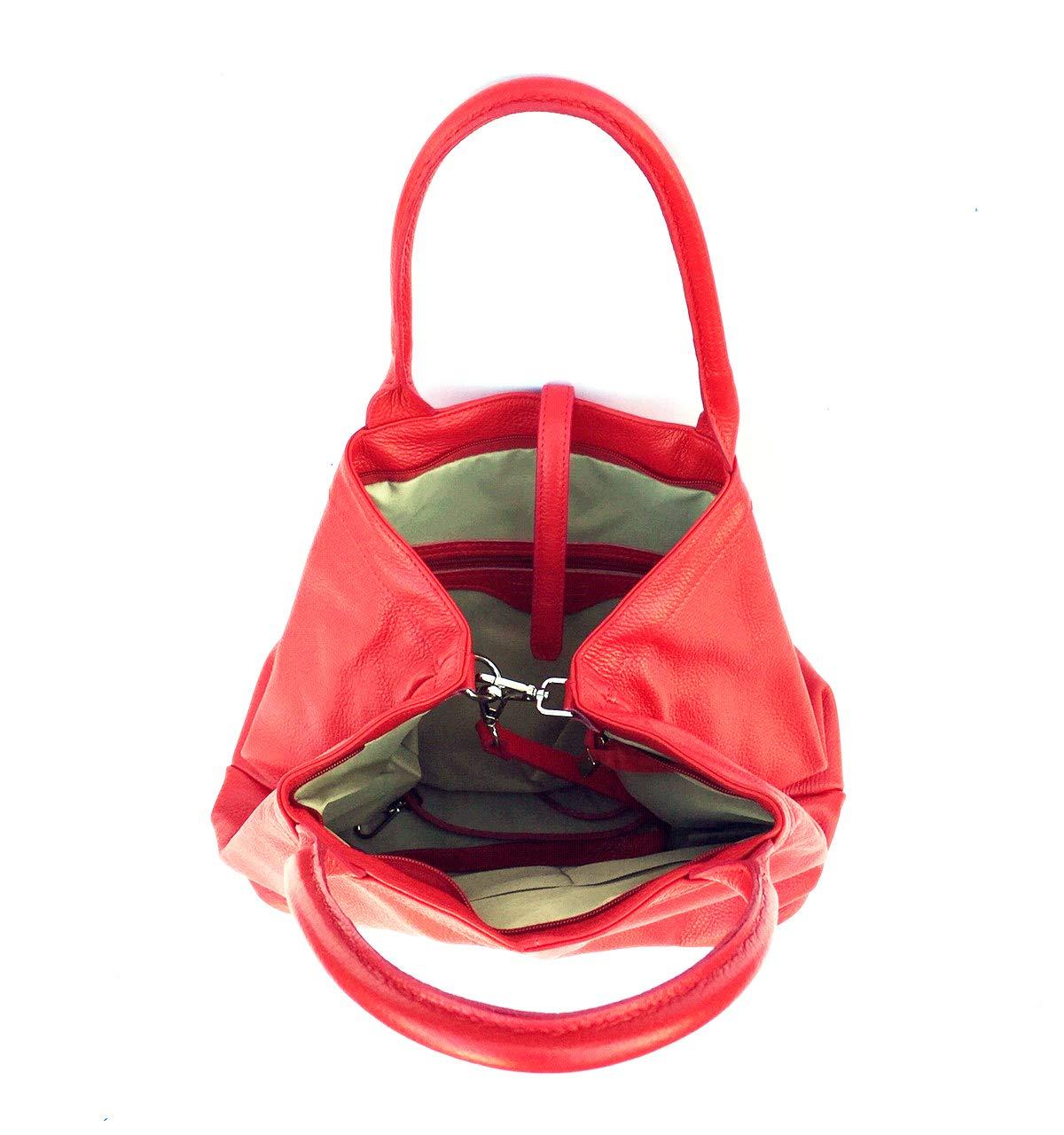 Superflygbags damväska modell HERA XL axelväska äkta läder Made In Italy röd
