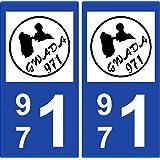 2 Stickers de plaque d'immatriculation auto 971 Guadeloupe - I'm Gwada