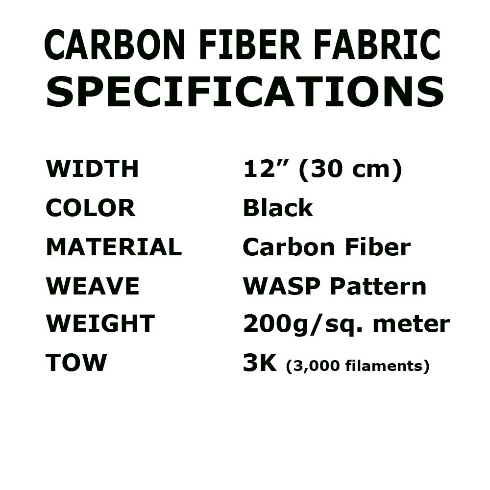 12 in x 5 FT - WASP - Carbon Fiber Fabric - Wasp Weave-3K - 220g-Black by CARBON KEVLAR SUPPLY (Image #2)