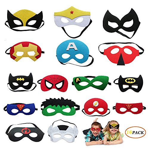 Beelittle Superhero party masks Cosplay Party Eye Masks Sixteen Packs of Superhero Masks wonderful for Boys or Girls aged 3 above