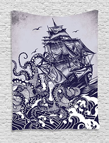 Ambesonne Nautical Decorations Collection, Sailor Ship Octopus Blue Print, Bedroom Living Kids Girls Boys Room Dorm Accessories Wall Hanging Tapestry, Navy Gray