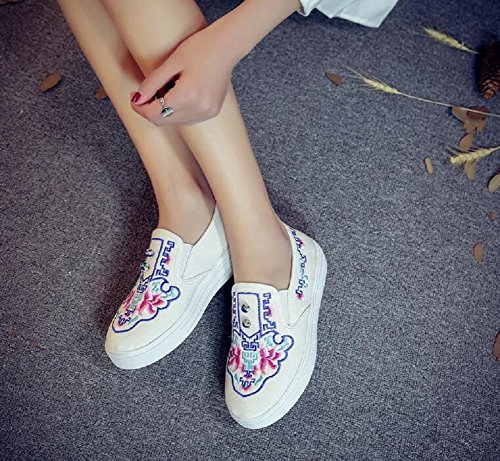 Casual Slip Lazutom Shoes Embroidery Lady Sneaker Loafer Shoes Women Beige on Walking RR7n8Bw4q