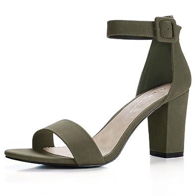 Amazon.com | Allegra K Woman Open Toe Chunky High Heel Ankle Strap ...