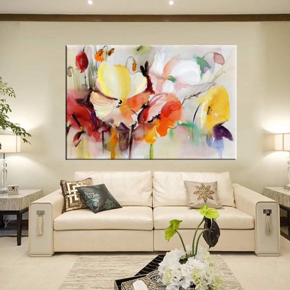 ZXMPGYH Acuarela Moderna Floral Pintura Mural Pintado A Mano Flores de Amapola Lienzo Cuadro de la Pared para la Sala de Estar Decoración del Hogar Regalo