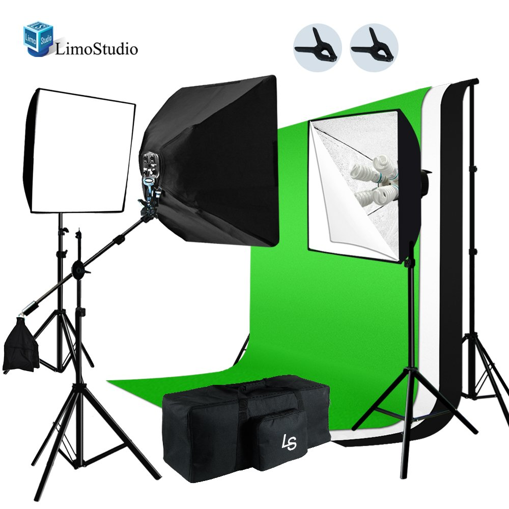 LimoStudio 2400W Softbox Boom Lighting Kit with Photograpghy Studio 6 x 9ft Chromakey Green, Black, White Backdrop Background Support Kit, AGG717 by LimoStudio