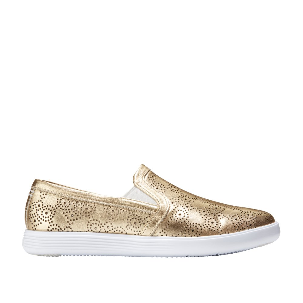 Cole Haan Women's Grand Crosscourt Slip On Sneaker B07CCZV8SP 7.5 B(M) US|Gold Metallic Perforated-optic White