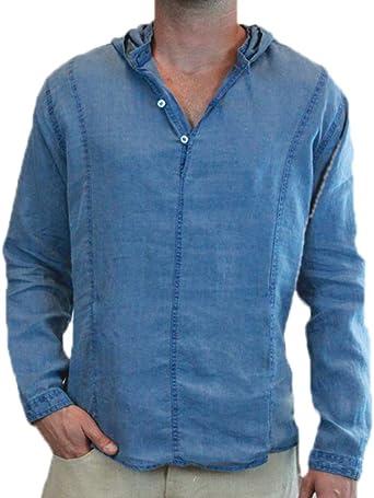 Camisa Blusa con Capucha de Manga Larga Lisa para Hombre de algodón de Lino para la Primavera otoño: Amazon.es: Ropa y accesorios