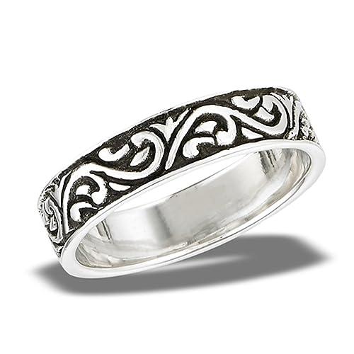Oxidado Plata De Ley 925 anillos de boda grabado de remolino de celta banda tamaños 7