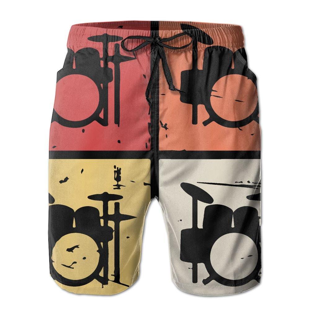 JWJW5-20 Retro Vintage Drum Kits Summer Boardshorts, Mens Swimming Shorts with Pocket