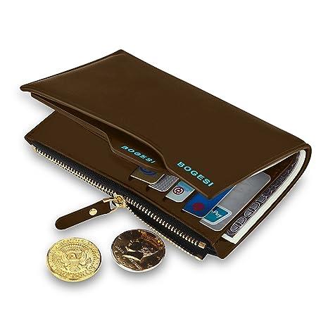 Expresstech @ Larga Billetera Cremallera Cuero Gran Capacidad Cartera Monedero Billetera de Bolsillo Titular Efectivo para