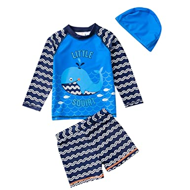 eef5da5c1a Amazon.com: TAIYCYXGAN Baby Boys Two Pieces Swimsuit Set Kids Whale Swimwear  Rashguard Bathing Suit With Hat UV Sun Protective: Clothing