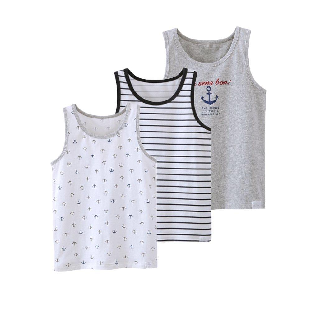 Boys Navy Print Set Tank Cotton Super Soft Tagless Undershirts 3-Pack