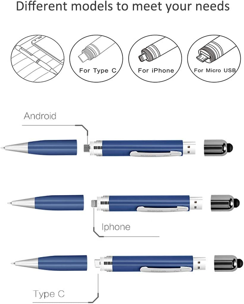 Business Gift for Men Women Blue Writing Ballpoint Pen with Stylus USB 32GB Flash Drive The perseids 5 in 1 Multifunction Pen Touch Pen Built-in Cable Compatible with Micro USB Android Smart Phone