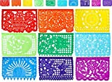 Mexican Papel Picado Tissue Paper Banner (ONE 13-Foot Strand with 10 Cut-Out Designs, Multicolor) - For Fiesta Decorations and Cinco de Mayo Parties