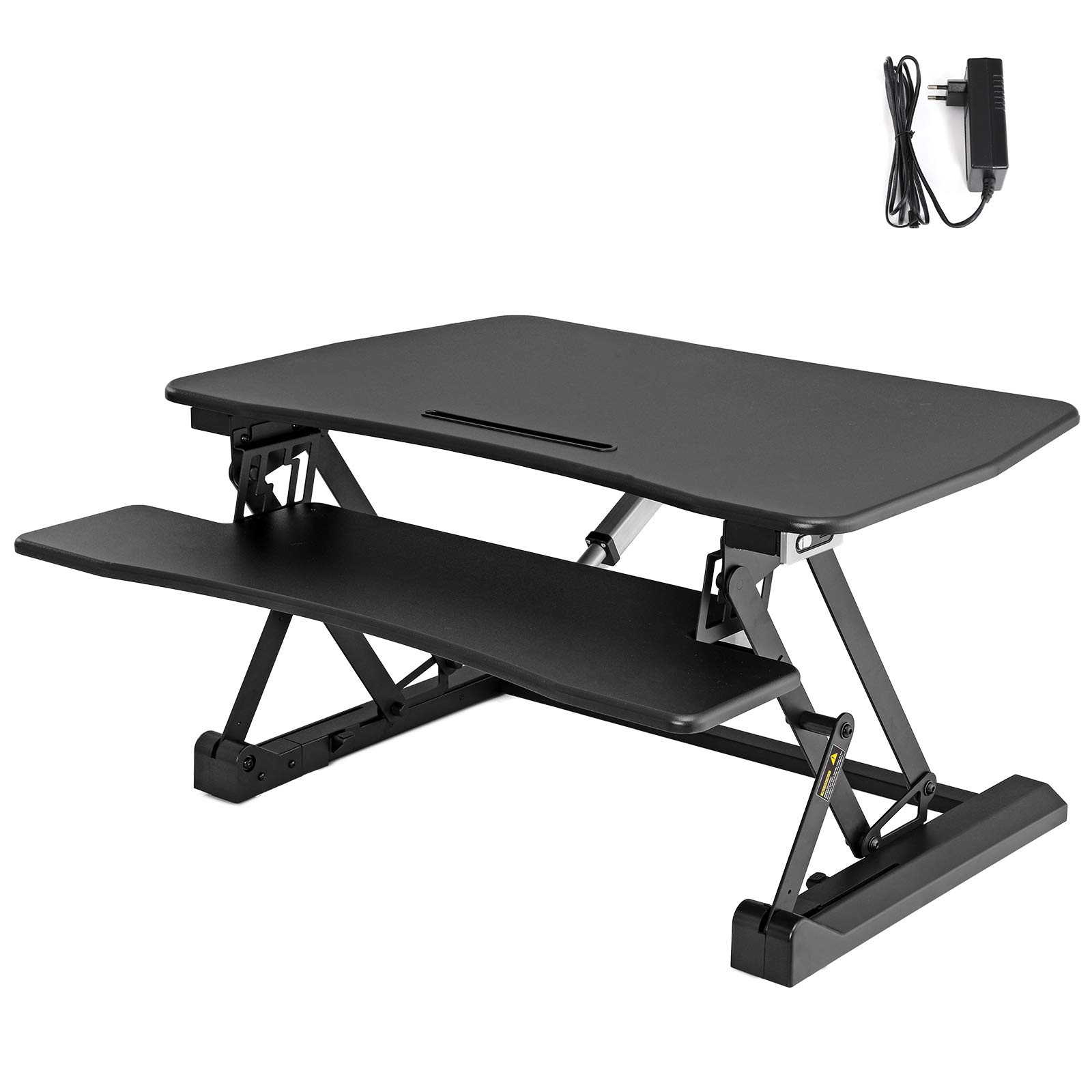 SONGMICS Electric Standing Desk Converter, 36'' Wide Sit to Stand Desk fits Dual Monitor, Height Adjustable Stand up Desk Computer Riser with Quick Release Keyboard Tray, for Home Office ULSD77BK