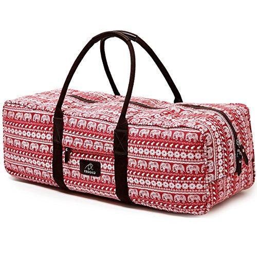 FODOKO Yoga Mat Gym Bag for Yoga Mat,Strap,Blocks,Best Canvas Travel Duffle Bag for Women