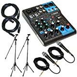 Yamaha Package Bundle: Yamaha MG06 6-Channel Mixer + 2 Emic800 Microphone With Wires + 2 Microphone Stands + 2 XLR Xlarge 25 Feet Calbles