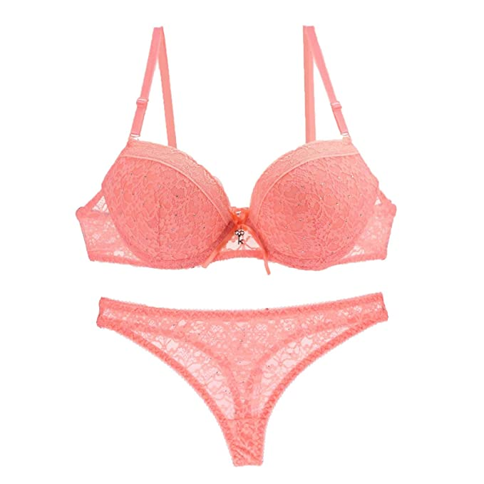 2e9f7360c28ae Tootless-Women Push Up Cozy Lace Solid-Colored Sexy Lingerie Bras Set 1 34B