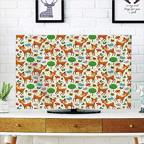 (LONSANT LCD Funky TV dust Cover,Cartoon Animal,Baby Deer and Other compatibleest Elements Mushrooms Butterflies Flowers and Nuts Decorative,Compatible 50