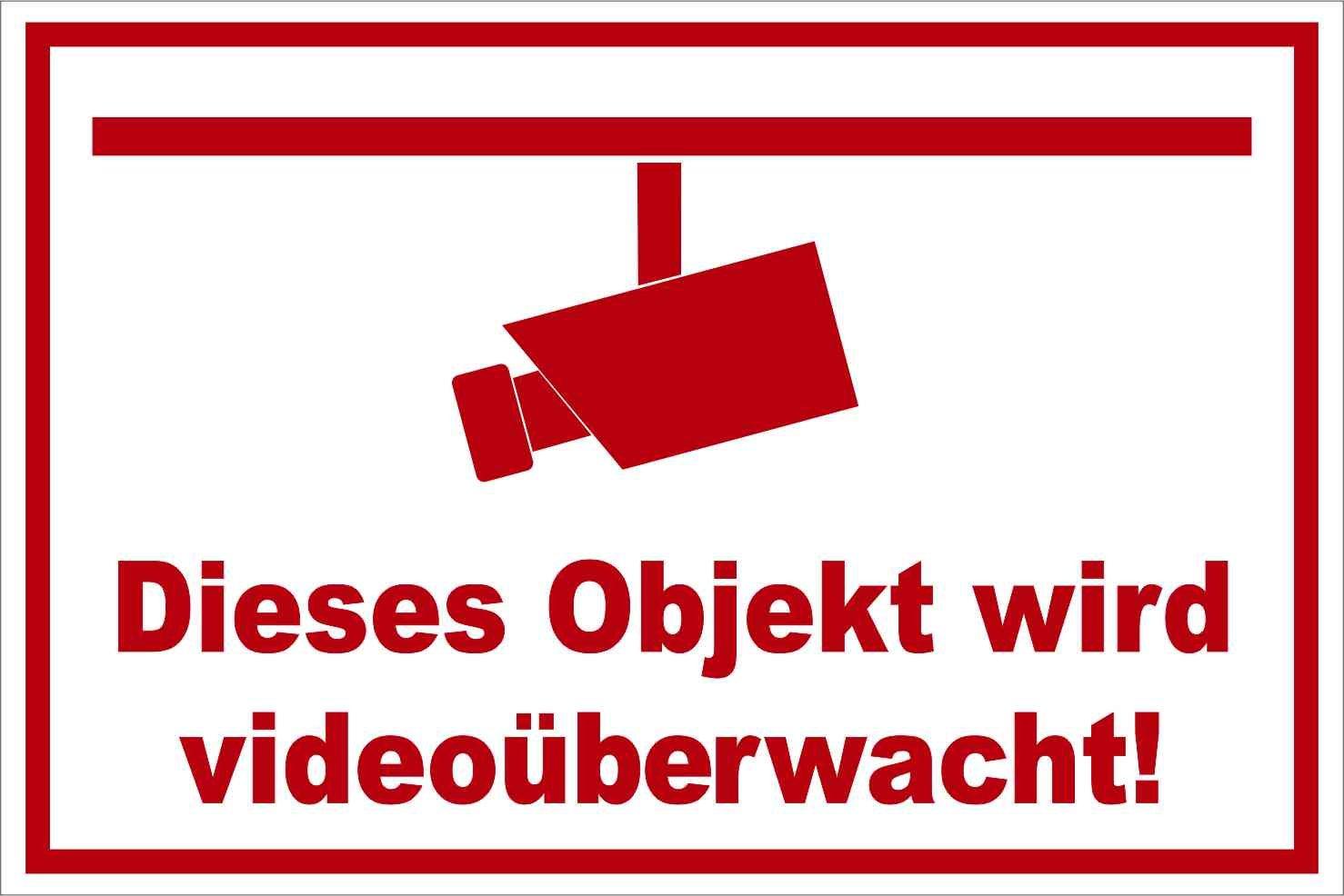 Kleberio® Warnschild 30 x 20 cm - Objekt - stabile Aluminiumverbundplatte
