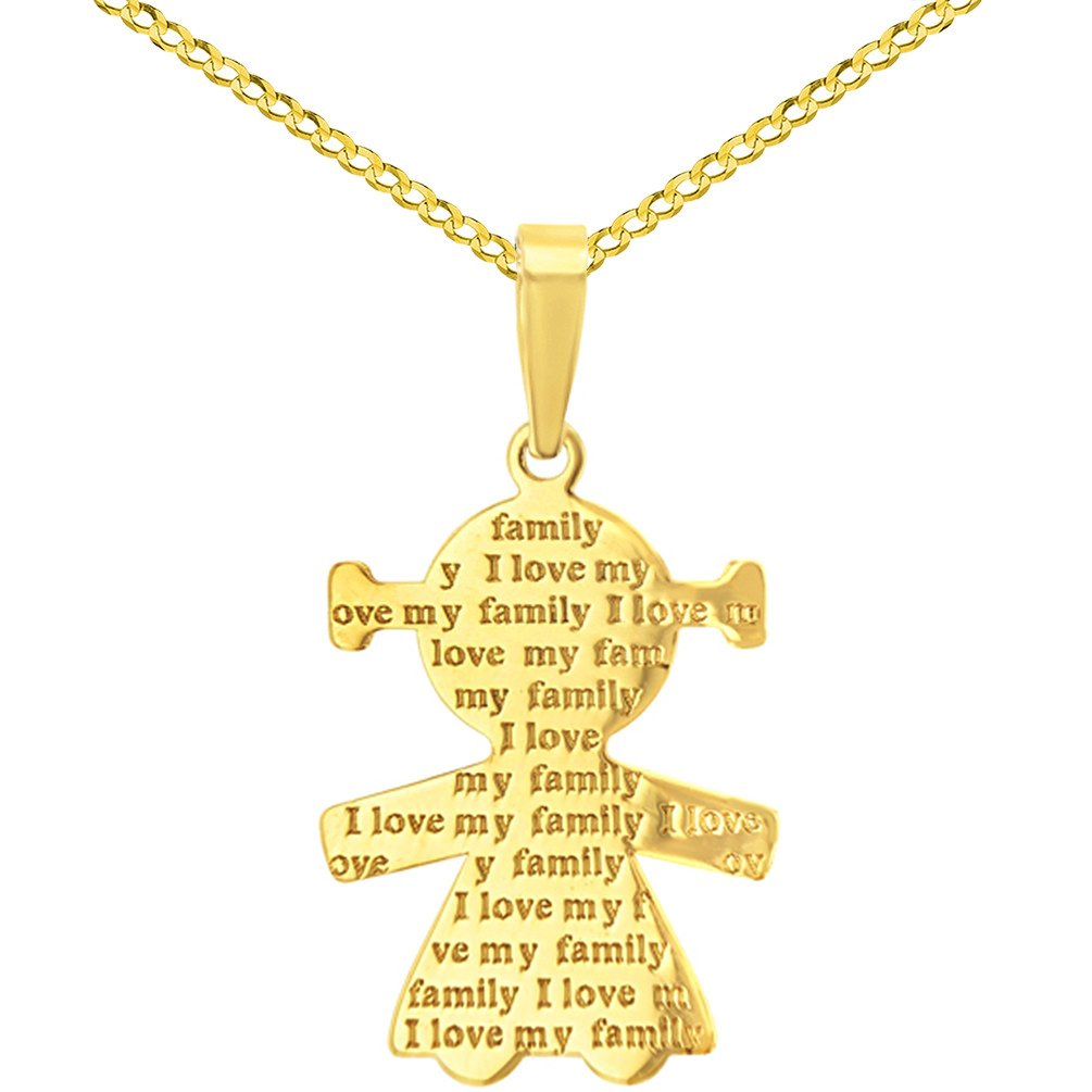 14K Yellow Gold Little Girl Charm with I Love My Family Engraved Script Pendant Cuban Chain Necklace, 16''