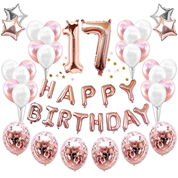HankRobot 17th Birthday Decorations Party Supplies38packRose Golden Number 17 Balloons Happy