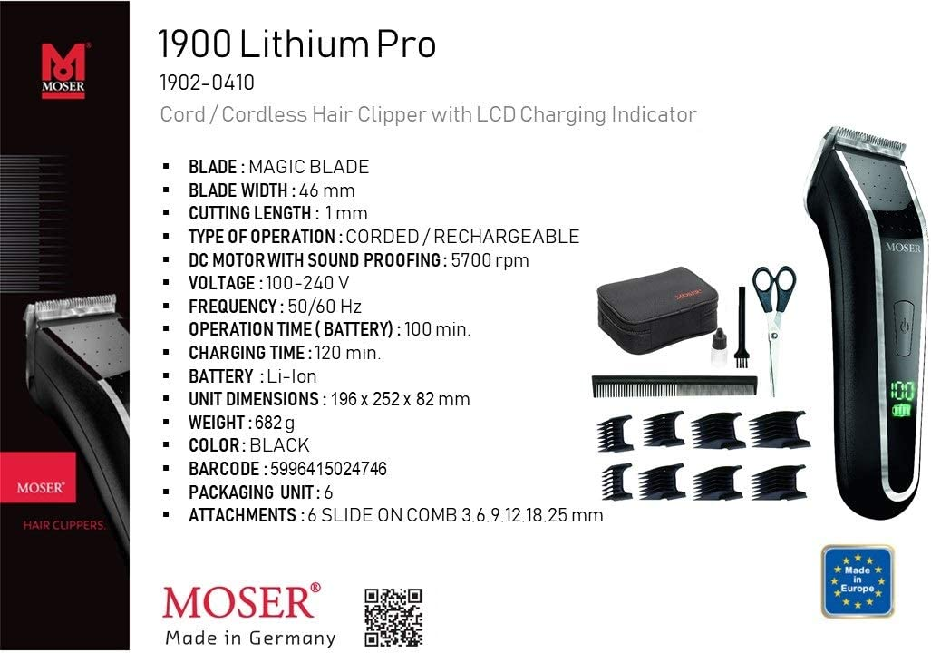 Moser 1902.0460 - Cortadora incorpora con juego de hojas cromadas ...