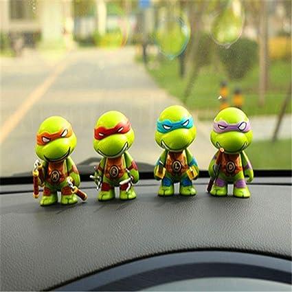 4 Pcs ZBM-ZBM Car Ornaments Bobblehead Figures Car Dashboard Teenage Mutant Ninja Turtle Interior Ornaments Accessories Doll Car Decoration Cute Creative Car Accessories Supplies