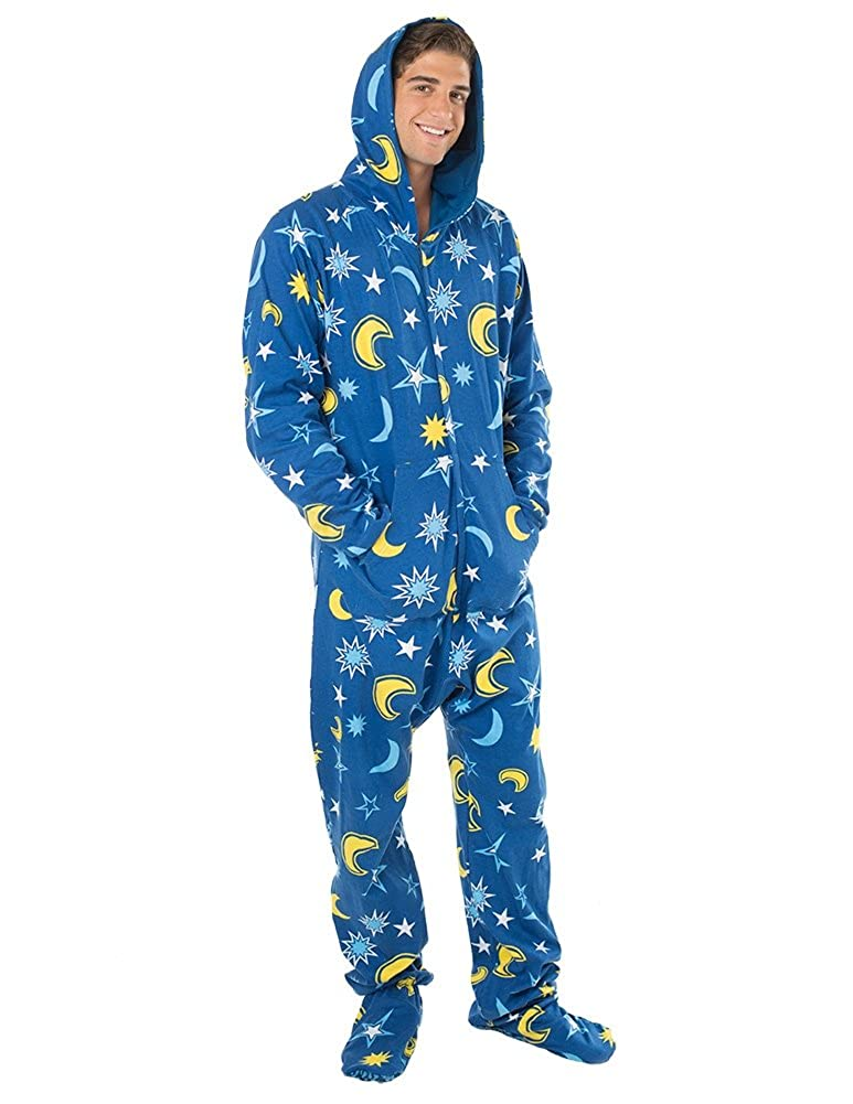 5a655fedcb28 Amazon.com  Footed Pajamas - Starry Night Adult Hoodie Cotton Onesie ...