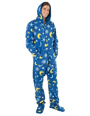 Footed Pajamas - Starry Night Adult Cotton Footed Pjs - Extra Large
