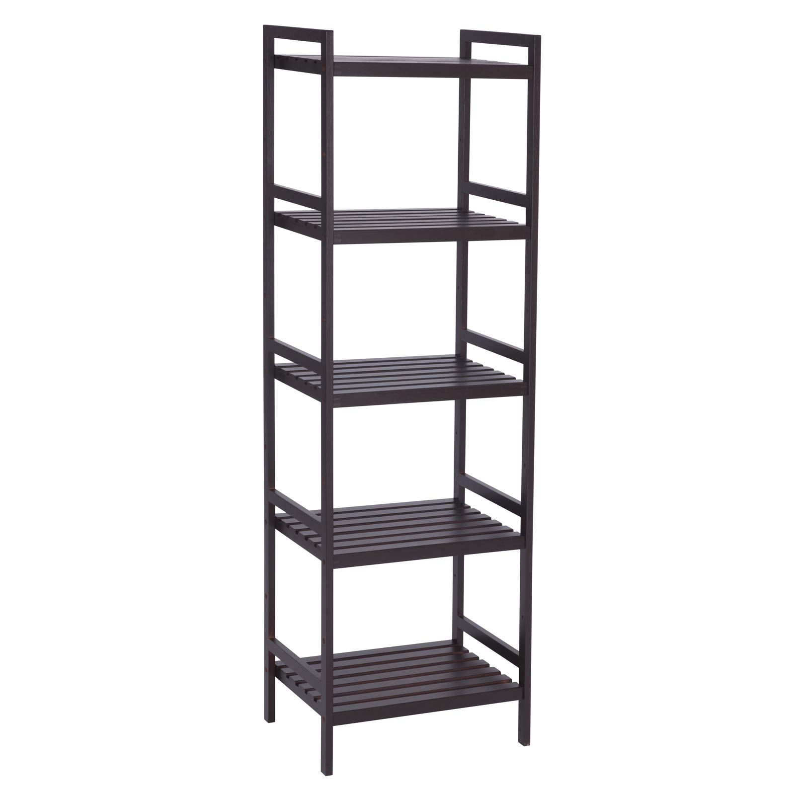 SONGMICS Adjustable Storage Shelf Rack,5-Tier Multifunctional Shelving Unit Stand Tower,Bookcase for Bathroom Living Room Kitchen 17.7 x 12.4 x 55.9'', Holds up to 132 lbs Bamboo Brown UBCB75BR