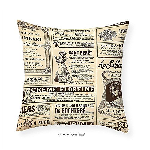 VROSELV Custom Cotton Linen Pillowcase Paris Vintage Old Historic Newspaper Journal French Paper Lettering Art for Bedroom Living Room Dorm Light Brown Caramel and White 14