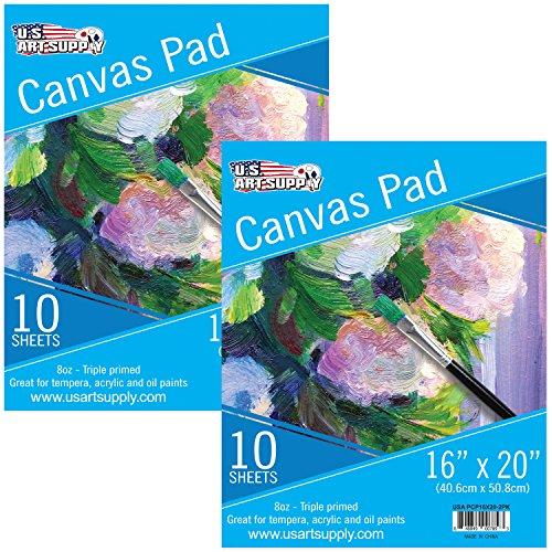 U.S. Art Supply 16'' x 20'' 10-Sheet 8-Ounce Triple Primed Acid-Free Canvas Paper Pad (Pack of 2 Pads) by US Art Supply