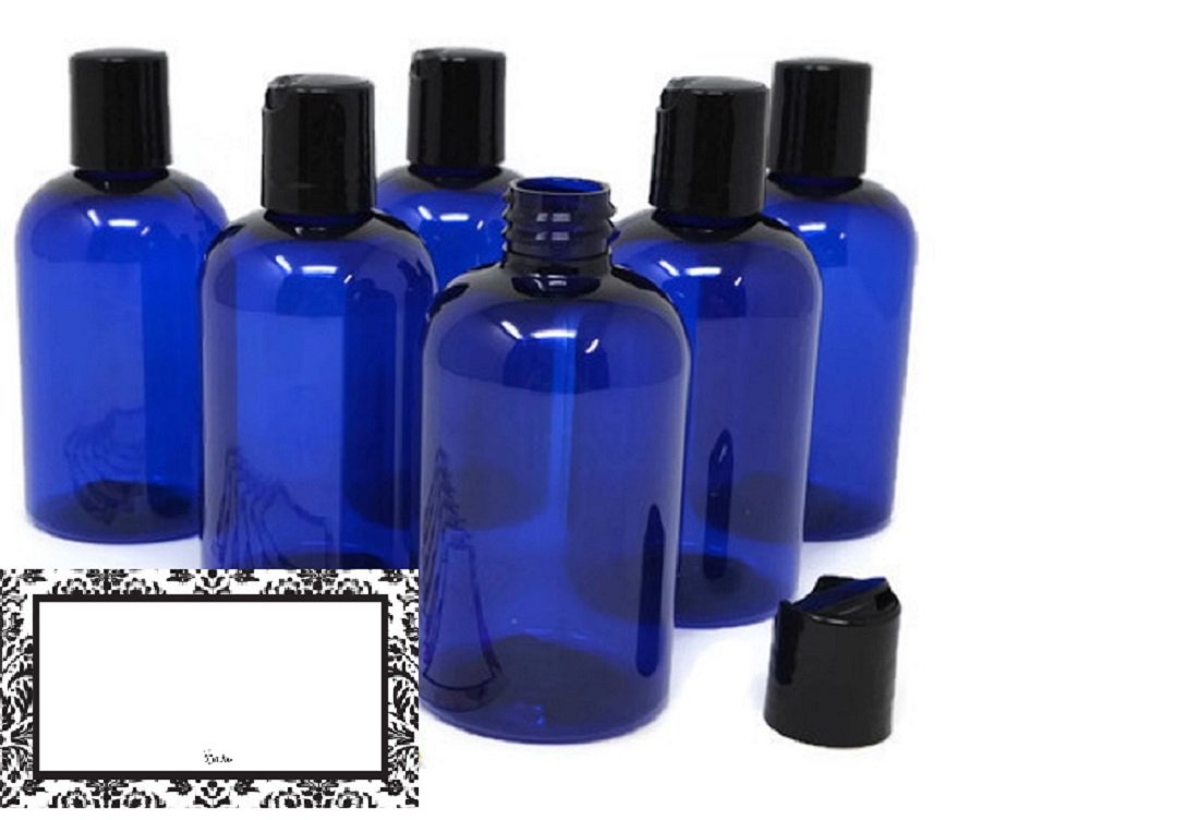 BAIRE Bottles - 4 oz Blue Plastic REFILLABLE Bottles, Black FLIP DISC CAPS -Travel or Gifting Personal Care Products, Light Blocking Blue, PET, BPA Free, Lightweight - 6 Pack, Bonus 6 Damask Labels