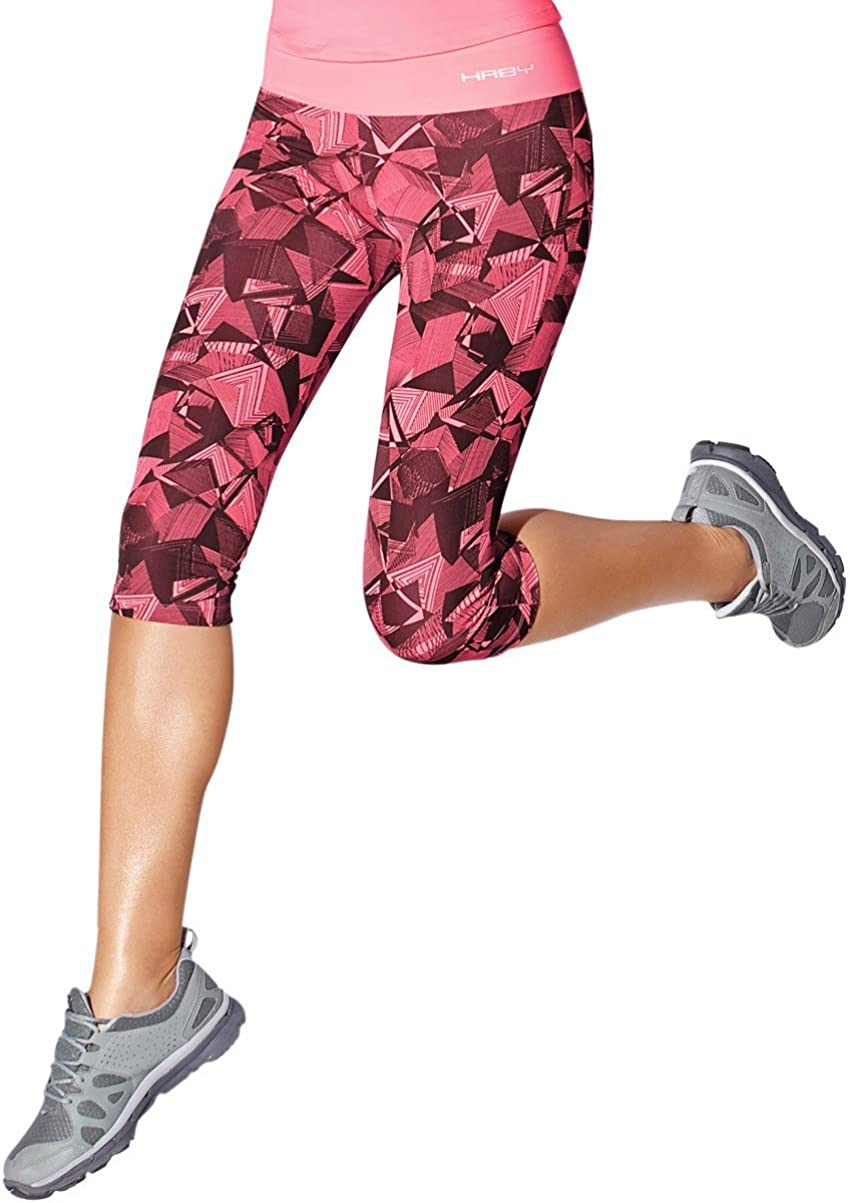 2 Pack Haby Women/'s Leggings Fitted Capris Gym Workout Running Wide Waistband
