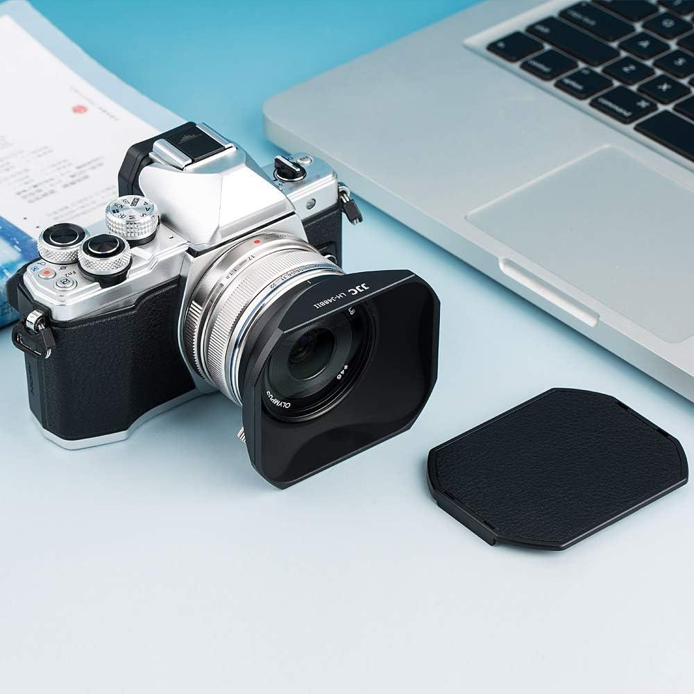 JJC Quadratische Gegenlichtblende aus Metall mit Abdeckung f/ür Olympus M.Zuiko Digital 17mm f//1.8 Objektiv ersetzt Olympus LH-48B