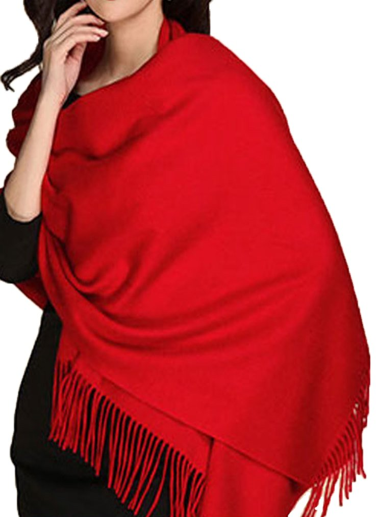 MARUYAMA Cashmere Stole, Scarf, Shawl, Wrap, 100% Cashmere, Gorgeous and Natural, Model K0101 (Scarlet) , Red , Large