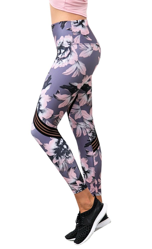 Ferbia Womens Workout Yoga Leggings High Waist Floral Print Sliming Stretch Tummy Control Pants