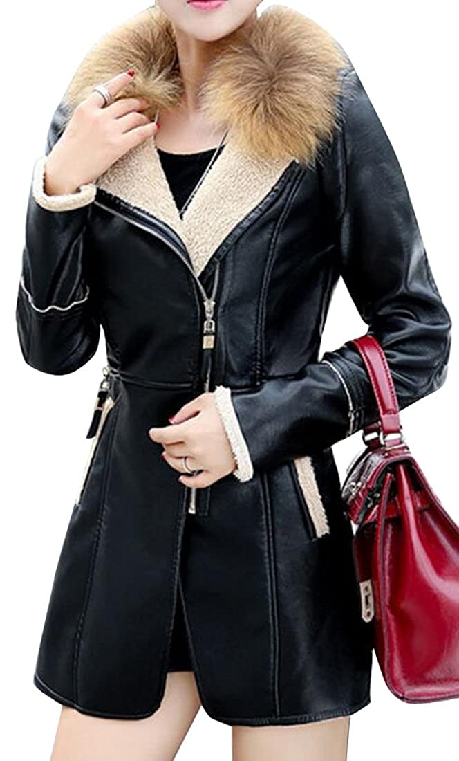17c568977d542 Fensajomon Womens Retro Zipper Fur Collar Mid Long Faux Leather Jacket Coat  Black M at Amazon Women s Coats Shop