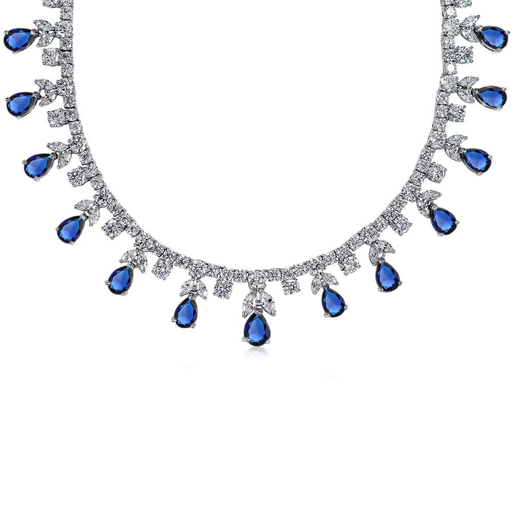 Bling Jewelry Bridal Blue CZ Multi Teardrop Pear Shape Dangle Simulated Sapphire Statement Necklace Collar Rhodium Plated Brass