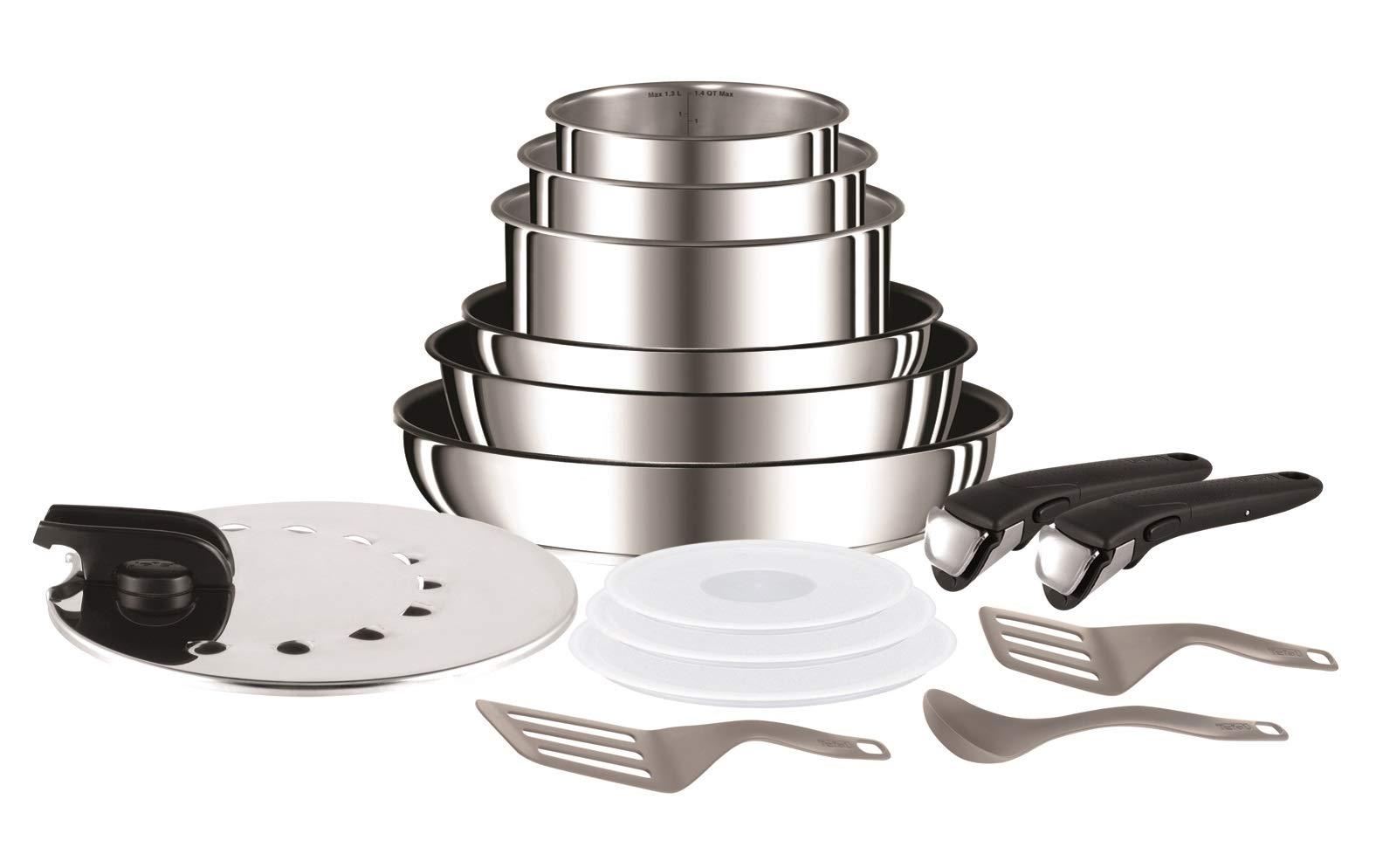 Tefal - Set de 15 piezas, de aluminio con mango extraíble, sartenes de 22