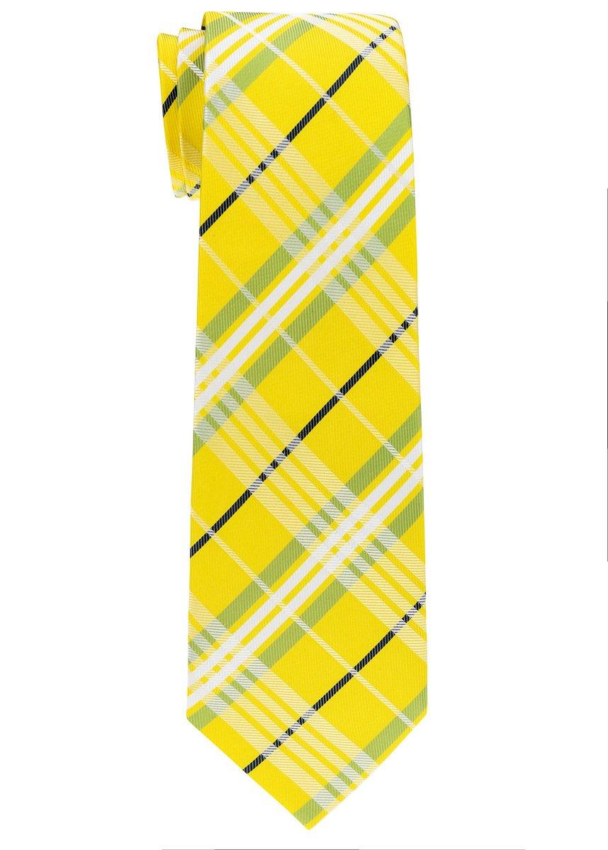 Retreez Stylish Tartan Plaid Check Woven Microfiber Boy's Tie (8-10 years) - Yellow