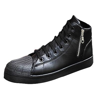 Oasap Mujer Zapatillas Deportivas Punta con Modelo de Concha Cima Alta Cordones para Arriba: Amazon.es: Zapatos y complementos