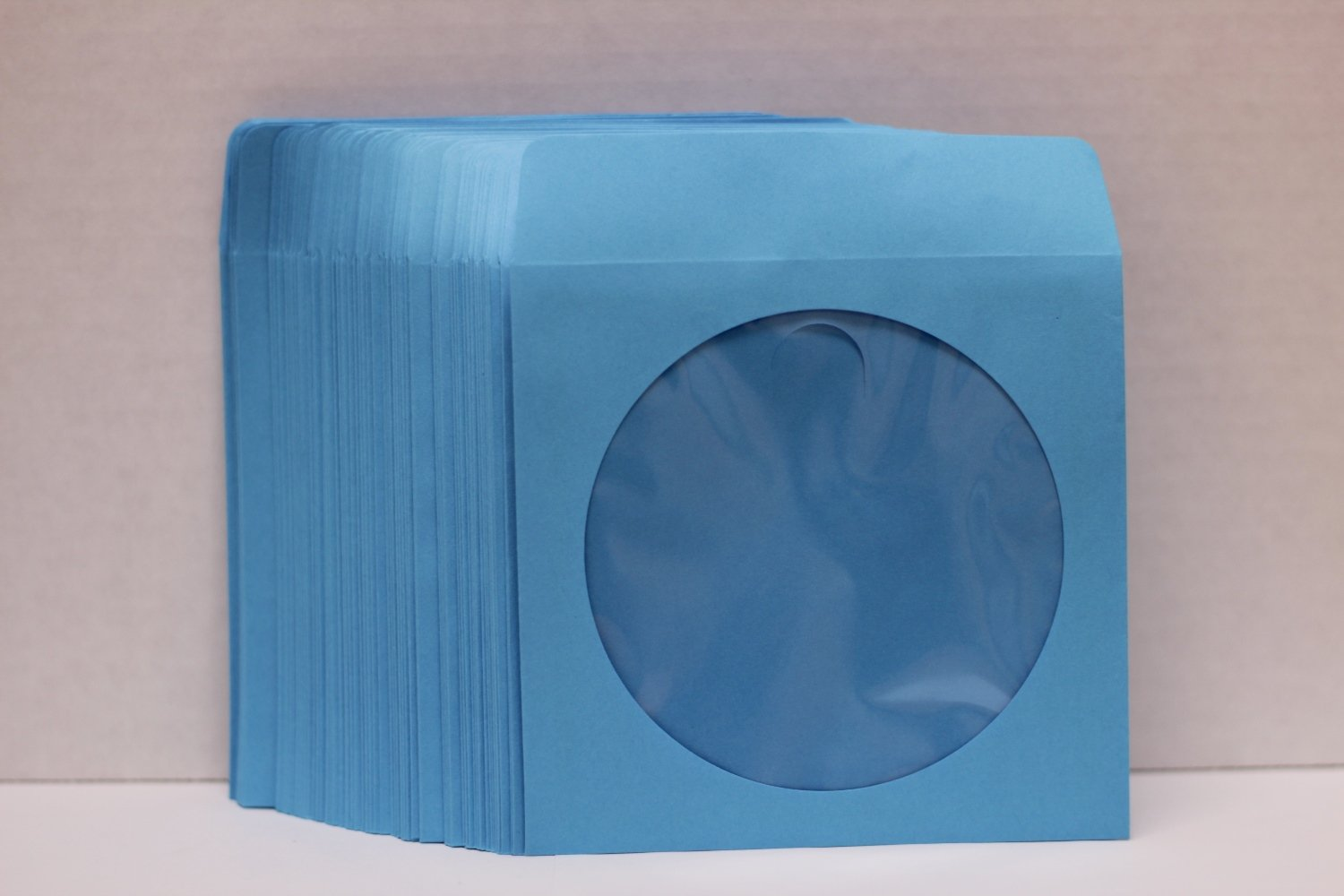 5,000 Blue Color Paper CD Sleeves with Window & Flap