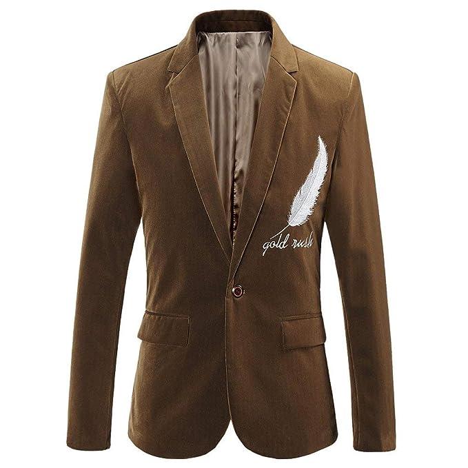 Hombres Chaqueta De Moda De Los Pluma Bordada De Chic Pana Tuxedo Traje De La Capa Slim Fit Ocio Chaqueta Blazer Outwear: Amazon.es: Ropa y accesorios