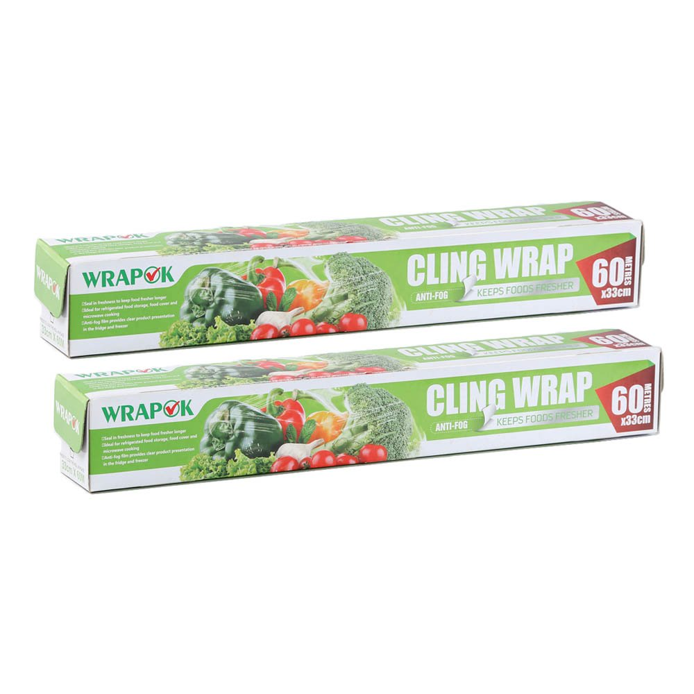 WRAPOK Cling Wrap Plastic Food Seal Film, Foodservice Cook's Tools for Kitchen-212 Square Foot Roll, 2 Pack
