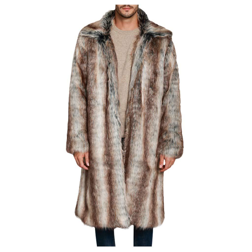 Men's Winter Warm Long Sleeve Open Front Faux Fur Cardigan Coat Punk Jacket Overcoat by Vintress